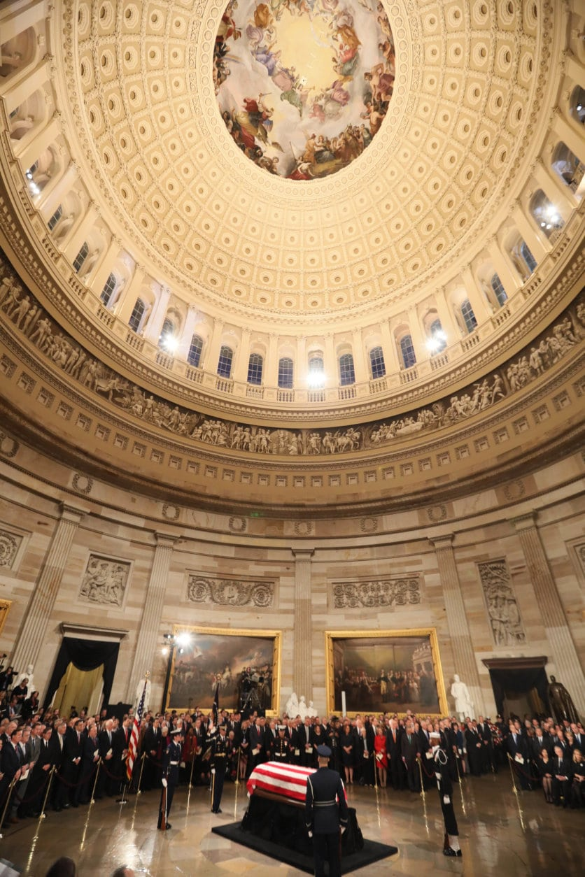 The casket of former President George H.W. Bush arrives at the Capitol in Washington, Monday, Dec. 3, 2018. (Jonathan Ernst/Pool Photo via AP)