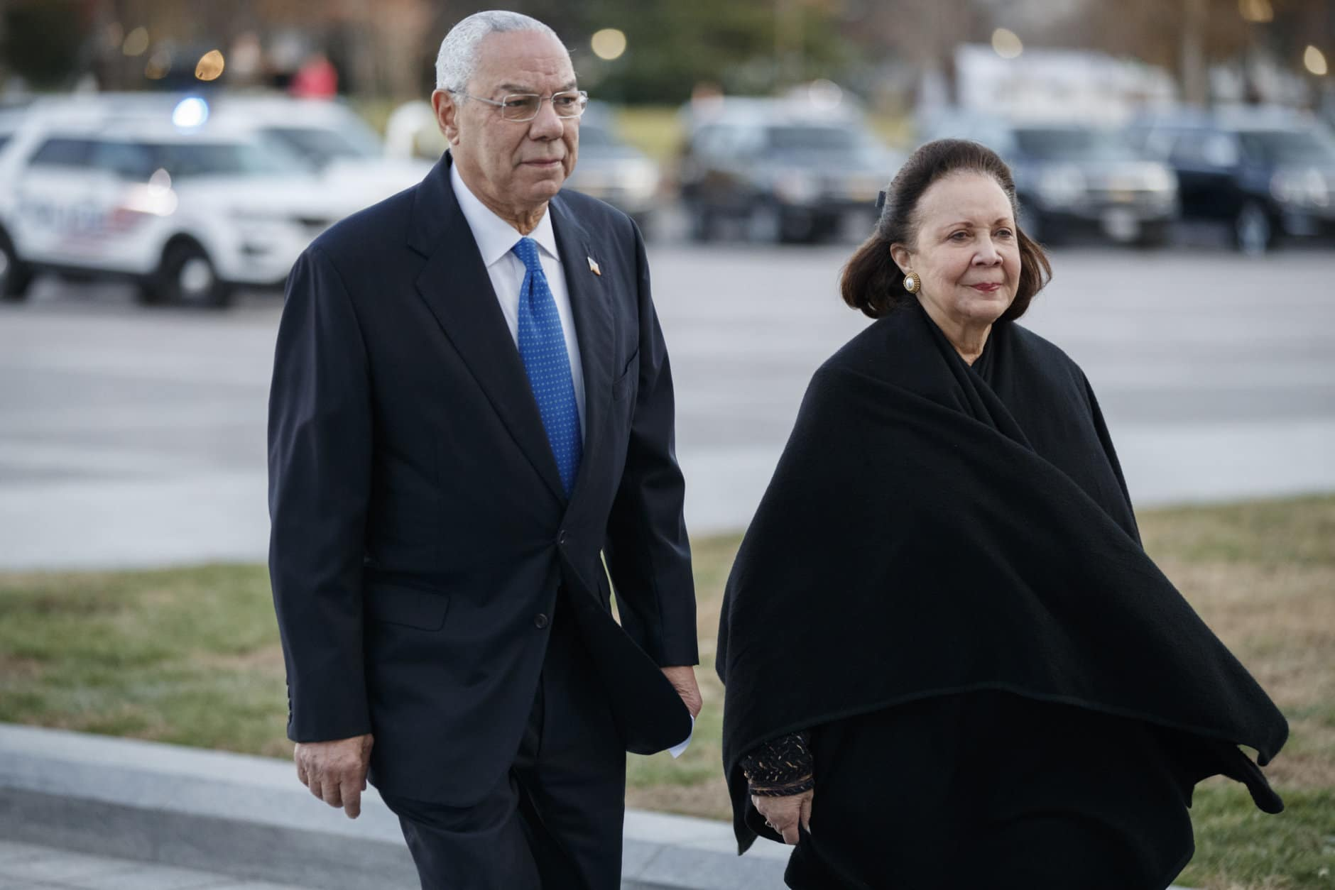 Former Secretary of State Colin Powell and his wife Alma arrives at the U.S. Capitol prior to the arrival of the body of former President George H. W. Bush in Washington, Monday, Dec. 3, 2018. Bush will lie in state in the Capitol Rotunda. (Shawn Thew/Pool Photo via AP)