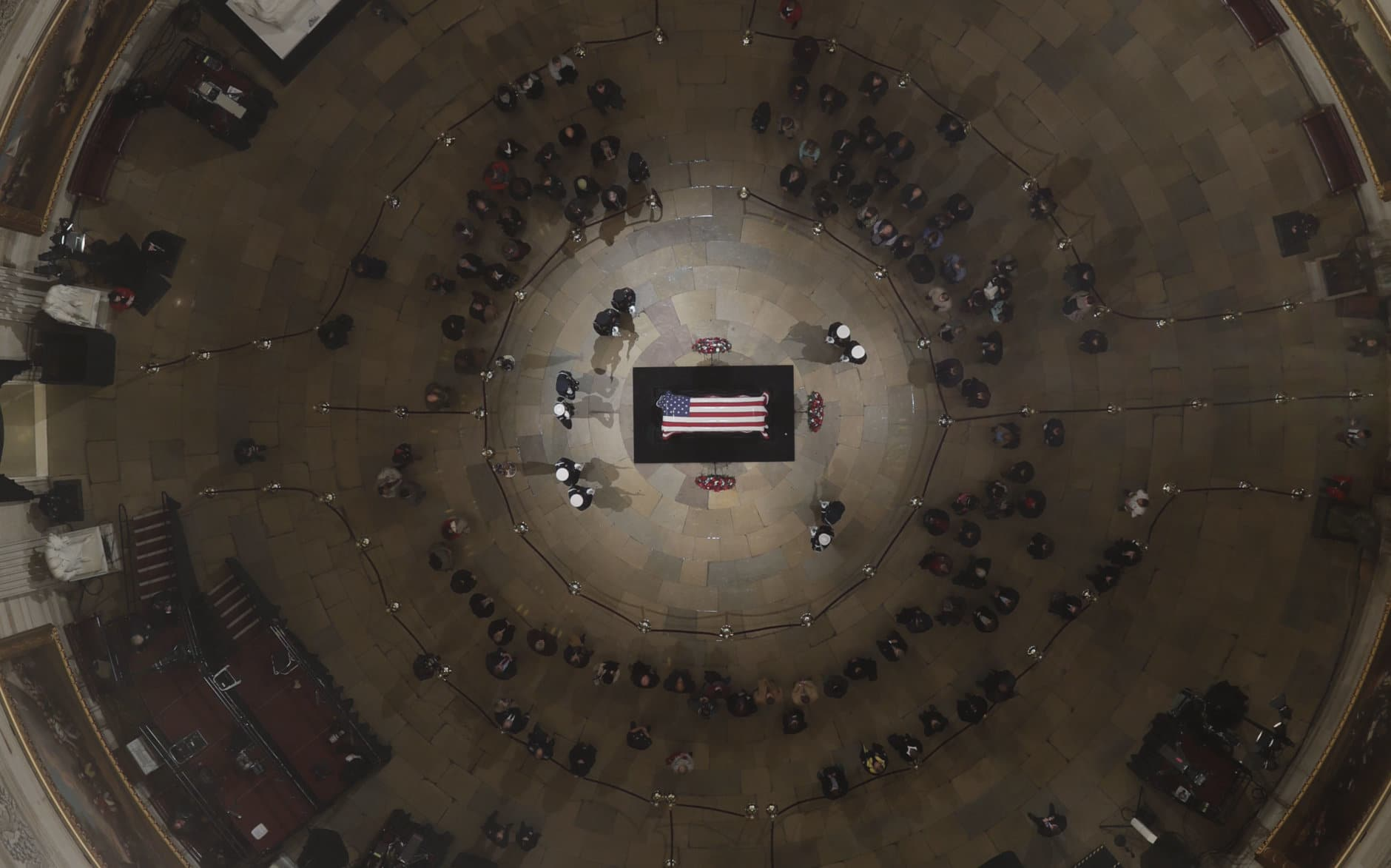 Former President George H. W. Bush lies in state in the U.S. Capitol Rotunda Wednesday, Dec. 5, 2018, in Washington. (Pool photo by Morry Gash via AP)