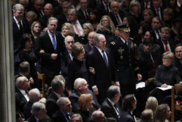 Former President George W. Bush, center, former first lady Laura Bush, Neil Bush, Sharon Bush and Jeb Bush, arrive for the State Funeral for former President George H.W. Bush, at the National Cathedral, Wednesday, Dec. 5, 2018, in Washington. (AP Photo/Evan Vucci)