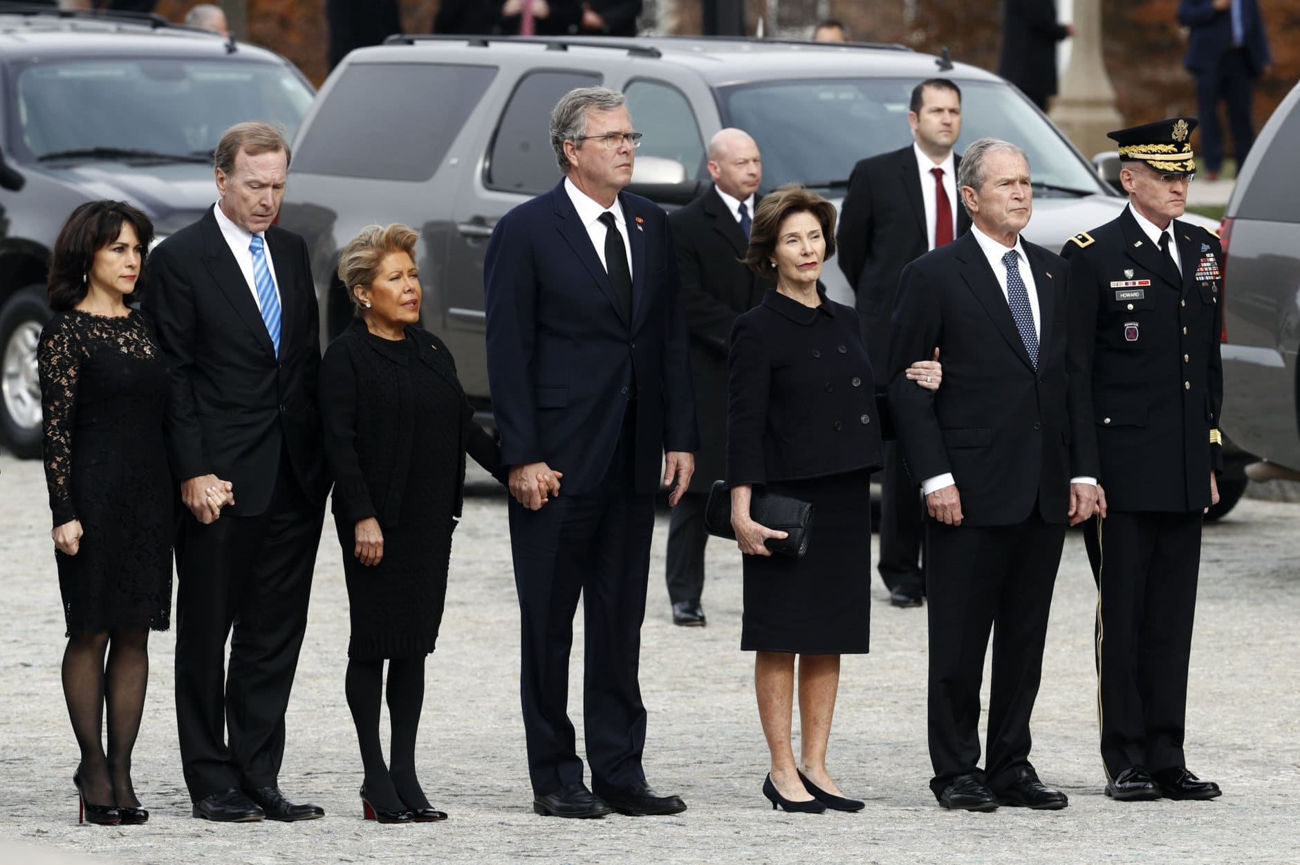 From left, Maria and her husband Neil Bush, Columba Bush, former Florida Gov. Jeb Bush, former first lady Laura Bush and former President George W. Bush arrive for a State Funeral for former President George H.W. Bush at the National Cathedral, Wednesday, Dec. 5, 2018, in Washington. (AP Photo/Patrick Semansky)