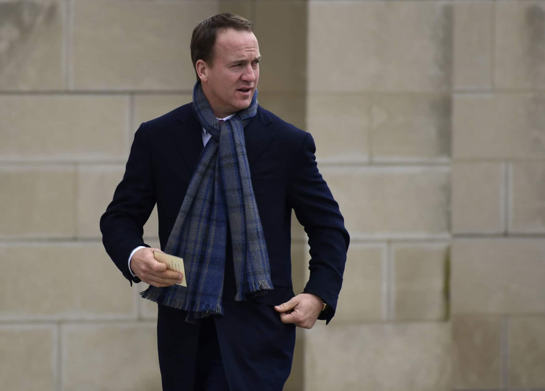 Former NFL quarterback Peyton Manning arrives for the State Funeral of former President George H.W. Bush at the National Cathedral in Washington, Wednesday, Dec. 5, 2018. (AP Photo/Susan Walsh)