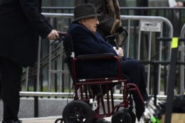 Former Secretary of State Henry Kissinger arrives for the State Funeral of former President George H.W. Bush at the National Cathedral in Washington, Wednesday, Dec. 5, 2018. (AP Photo/Susan Walsh)
