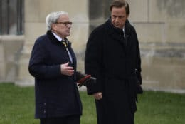 Television newsman Tom Brokaw, left, and presidential historian Michael Beschloss, right, arrive for the State Funeral of former President George H.W. Bush at the National Cathedral in Washington, Wednesday, Dec. 5, 2018. (AP Photo/Susan Walsh)