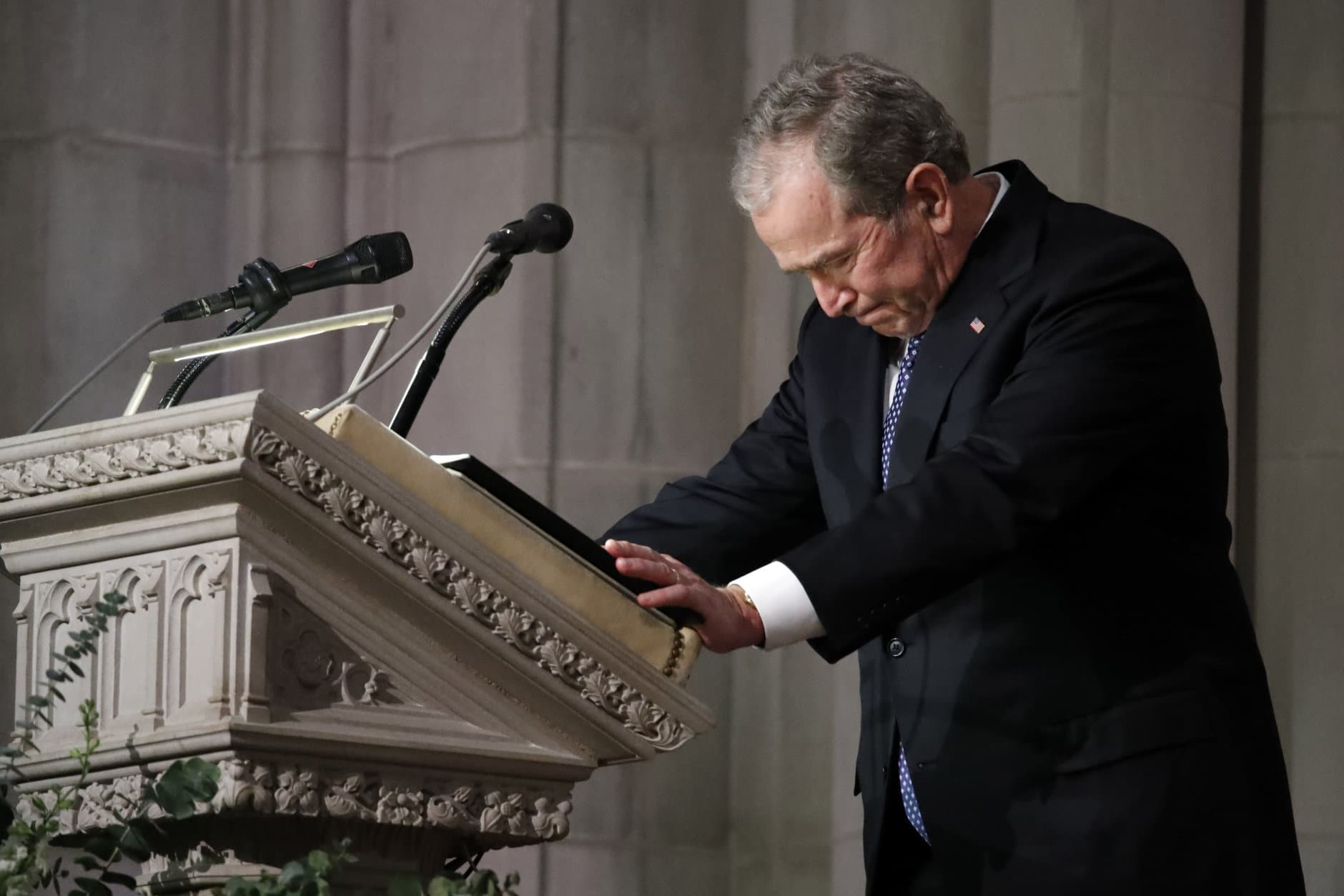 Former President George W. Bush speaks at the State Funeral for his father, former President George H.W. Bush, at the National Cathedral, Wednesday, Dec. 5, 2018, in Washington.(AP Photo/Alex Brandon, Pool)