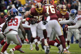 d9e5a26a130 ... Shepard (87) celebrates his touchdown with teammates during the first  half of an NFL football game against the Washington Redskins