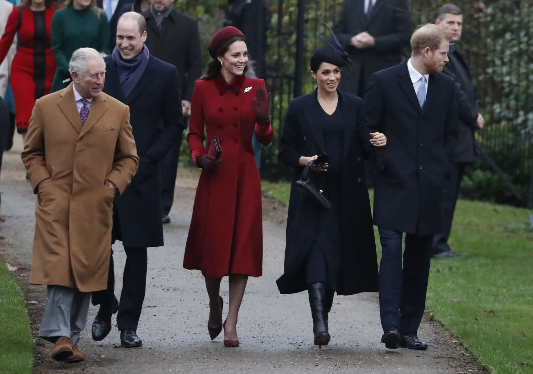 Britain's Royal family arrive to attend the Christmas day service at St Mary Magdalene Church in Sandringham in Norfolk, England, Tuesday, Dec. 25, 2018. (AP PhotoFrank Augstein)