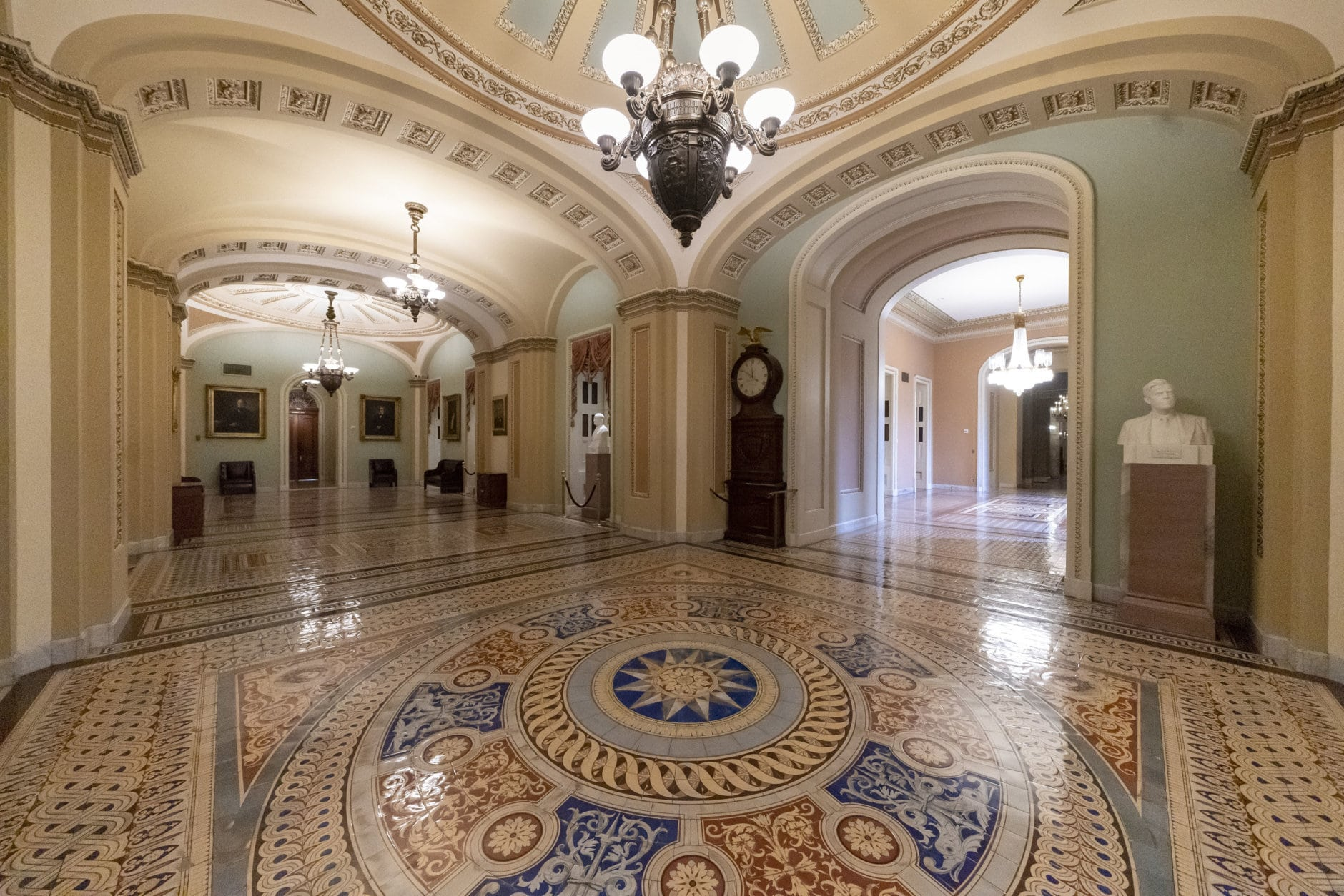 Empty corridors around the Senate are seen on Capitol Hill in Washington, Thursday, Dec. 27, 2018, during a partial government shutdown.  Chances look slim for ending the partial government shutdown any time soon. Lawmakers are away from Washington for the holidays and have been told they will get 24 hours' notice before having to return for a vote. (AP Photo/J. Scott Applewhite)