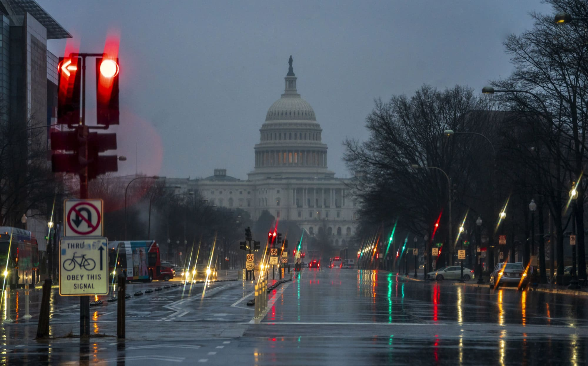 "The Capitol is seen on a rainy morning in Washington, Friday, Dec. 28, 2018, during a partial government shutdown. President Donald Trump is threatening to close the U.S. border with Mexico if Democrats in Congress don't agree to fund the construction of a border wall. Trump tweeted Friday morning that ""We will be forced to close the Southern Border entirely,"" unless a funding deal is reached with ""the Obstructionist Democrats."" Trump's demand for money to build the border wall and Democrats' refusal to give him what he wants has caused a partial government shutdown that is nearly a week old. (AP Photo/J. Scott Applewhite)"