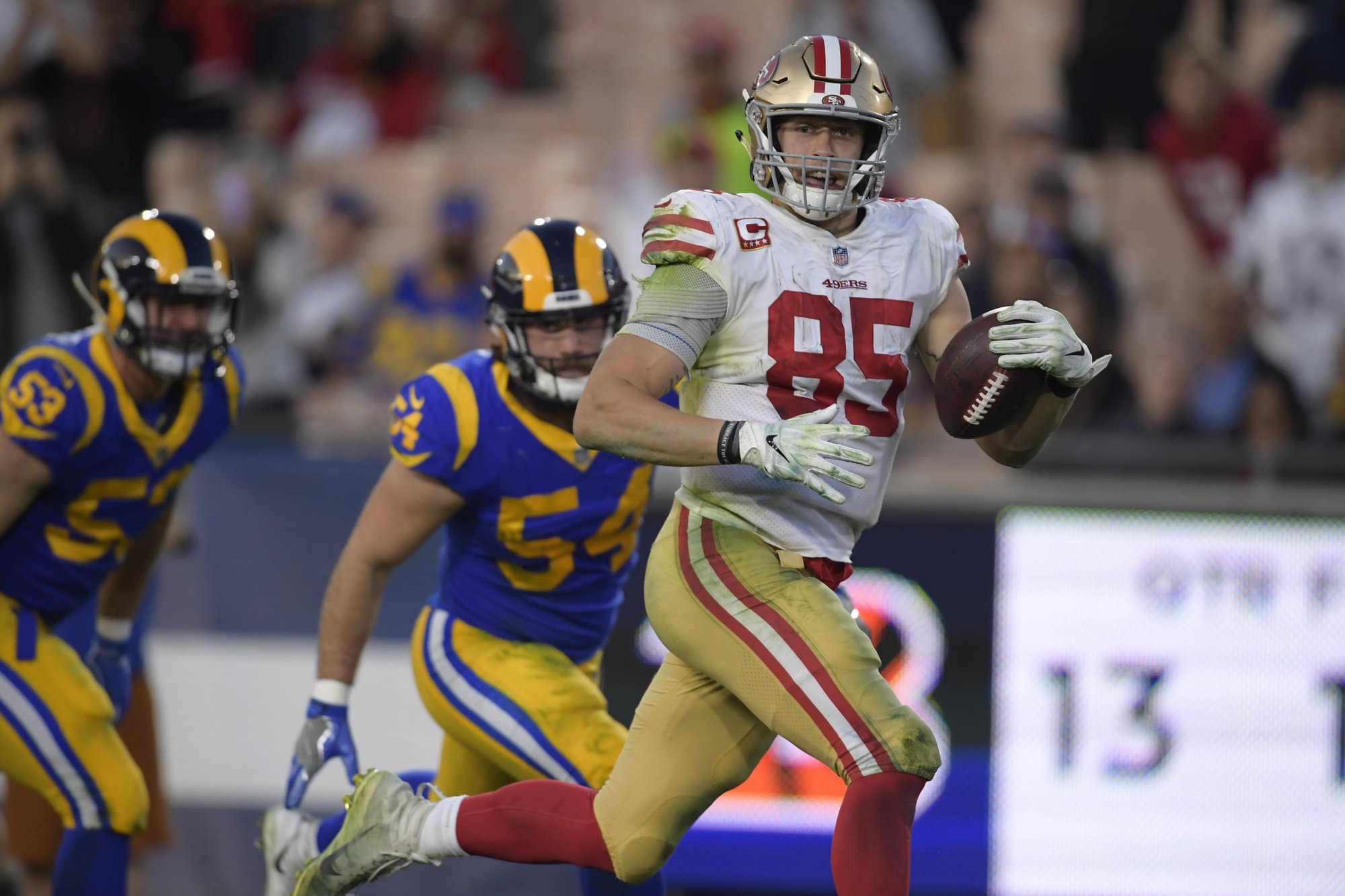 San Francisco 49ers tight end George Kittle scores during the second half in an NFL football game against the Los Angeles Rams Sunday, Dec. 30, 2018, in Los Angeles. (AP Photo/Mark J. Terrill)