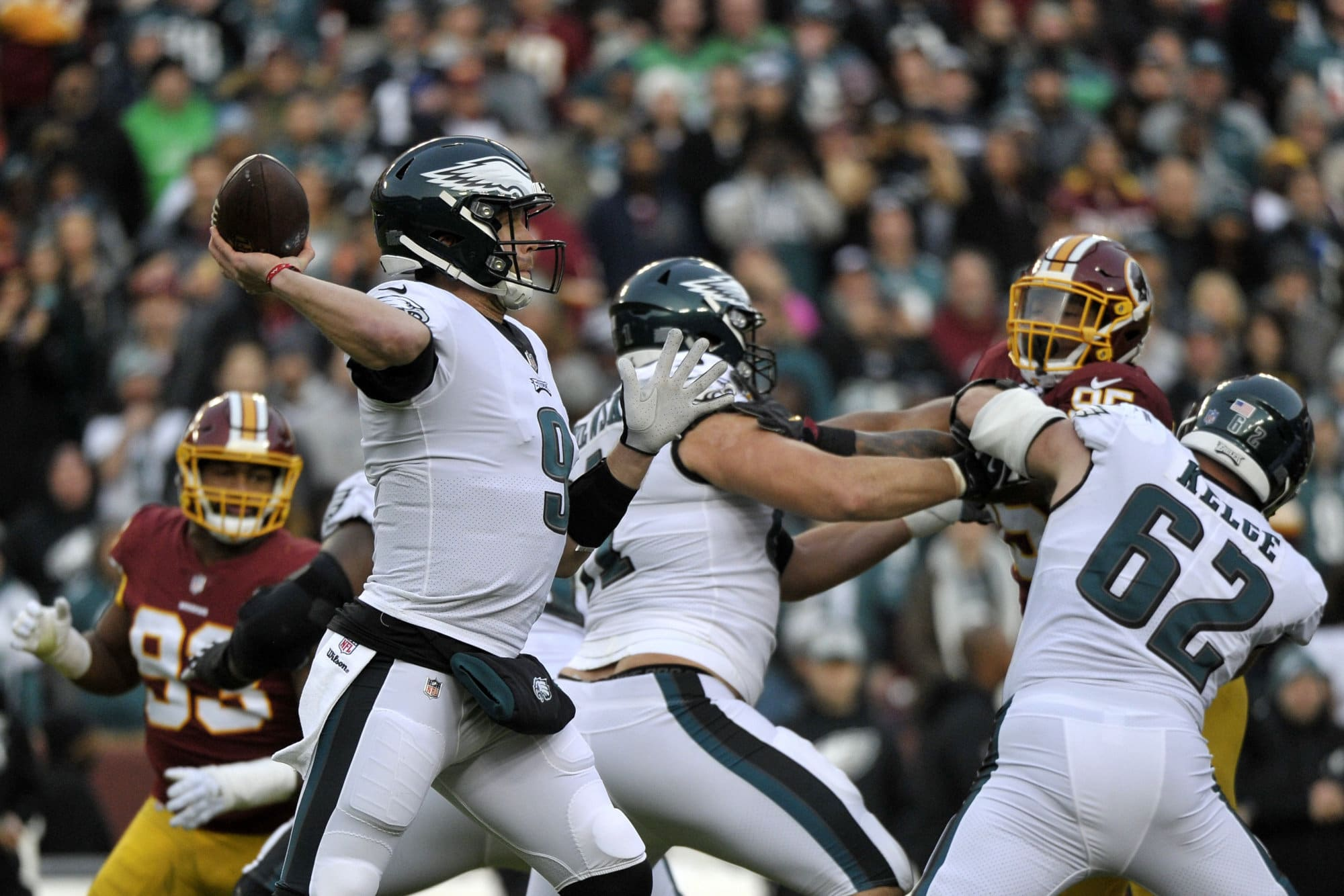 Philadelphia Eagles quarterback Nick Foles (9) passes during an NFL football game against the Washington Redskins, Sunday, Dec. 30, 2018, in Landover, Md. (AP Photo/Mark Tenally)