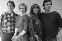 "First rehearsal for the new play ""Eden Court"", written by Murphy Guyer featuring, from left Gus Boyd, Melanie Griffith, Penny Marshall and Ben Masters at the Minetta Lane Theater in New York, March 19, 1985. The play will preview at Manhattan Theater Club on April 9. (AP Photo/Suzanne Vlamis)"