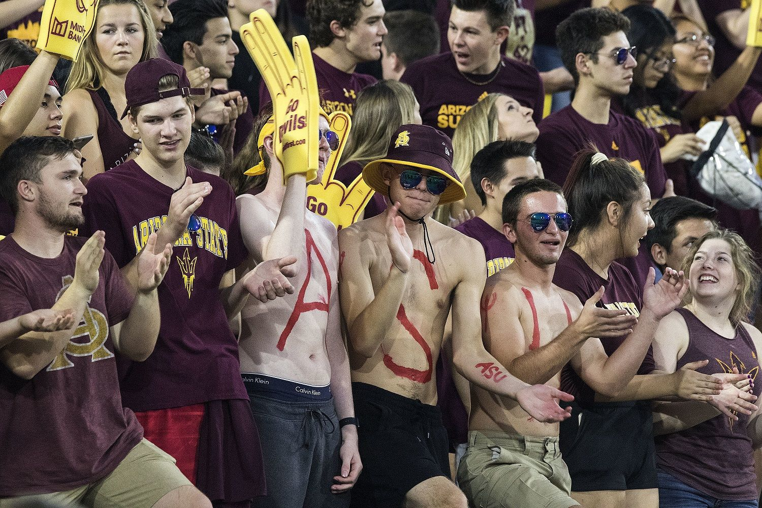 Arizona State fans do their thing during the first half of an NCAA college football game Thursday, Oct. 18, 2018, in Tempe, Ariz. (AP Photo/Darryl Webb)