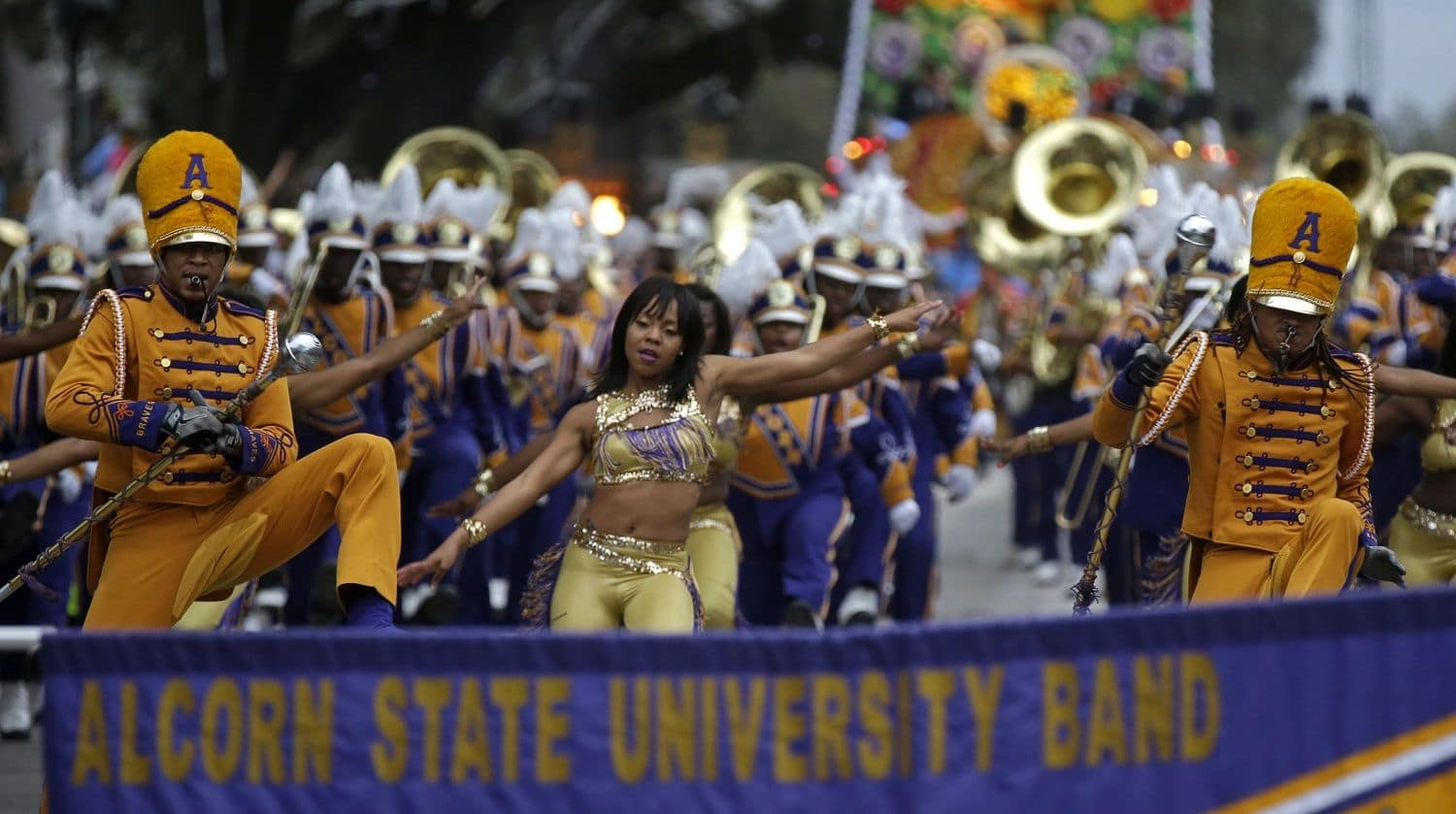 Members of the Alcorn State University Band march in the Krewe of Proteus Mardi Gras parade in New Orleans, Monday, Feb. 16, 2015. The day is known as Lundi Gras, the day before Mardi Gras. (AP Photo/Gerald Herbert)