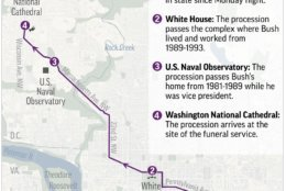 Map shows funeral procession route through Washington for President George H.W. Bush; 2c x 4 inches; with all related stories.