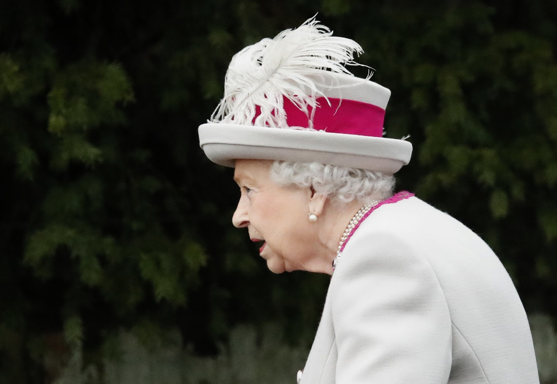 Britain's Queen Elizabeth II arrives to attend the Christmas day service at St Mary Magdalene Church in Sandringham in Norfolk, England, Tuesday, Dec. 25, 2018. (AP PhotoFrank Augstein)