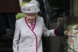 Britain's Queen Elizabeth II leaves after attending the Christmas day service at St Mary Magdalene Church in Sandringham in Norfolk, England, Tuesday, Dec. 25, 2018. (AP PhotoFrank Augstein)