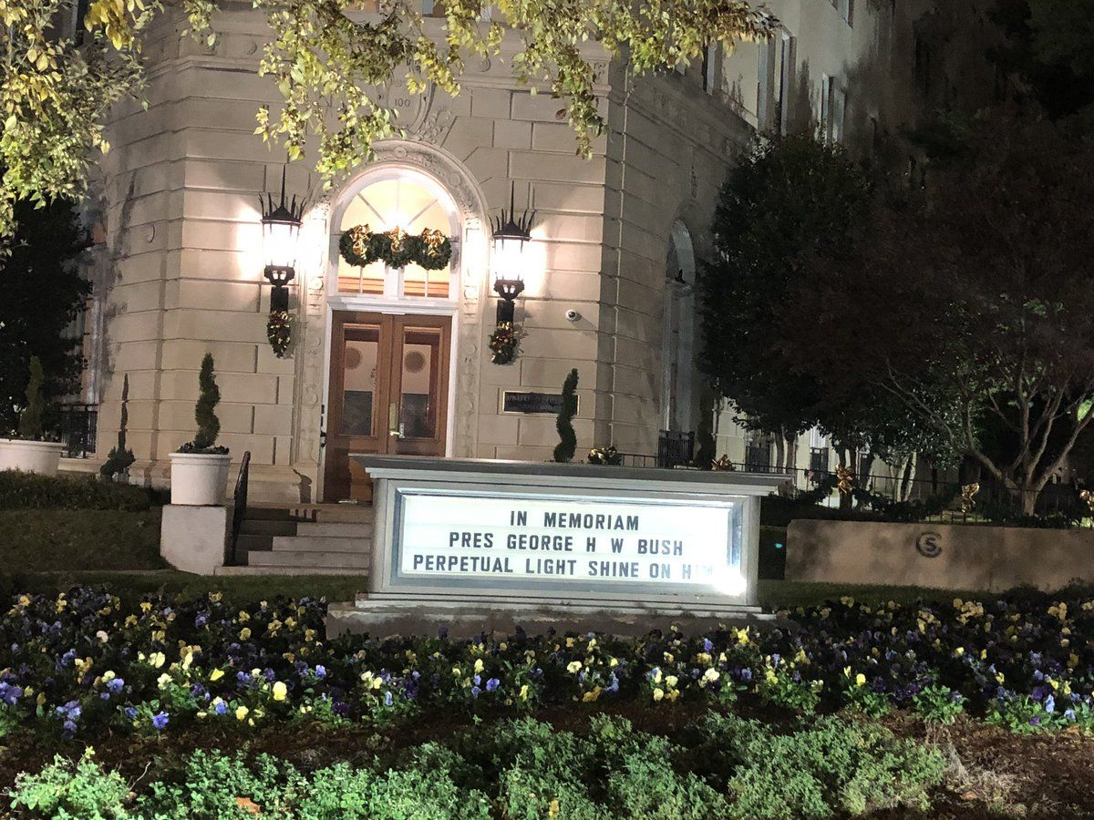Bush is honored by the United Methodist Building on Capitol Hill. (WTOP/Melissa Howell)