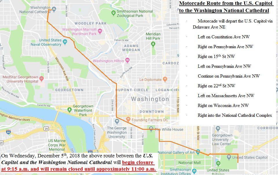 Expect More Road Closures For George Hw Bush S Procession On Wed Wtop