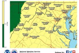 The National Weather Service says there may be up to 2 inches of rain in the southern parts of the D.C. area. (Courtesy NWS)