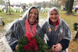 Paula Carolan and Joanne Trust of New Jersey volunteered at the annual wreath laying ceremony.  (WTOP/Kristi King)