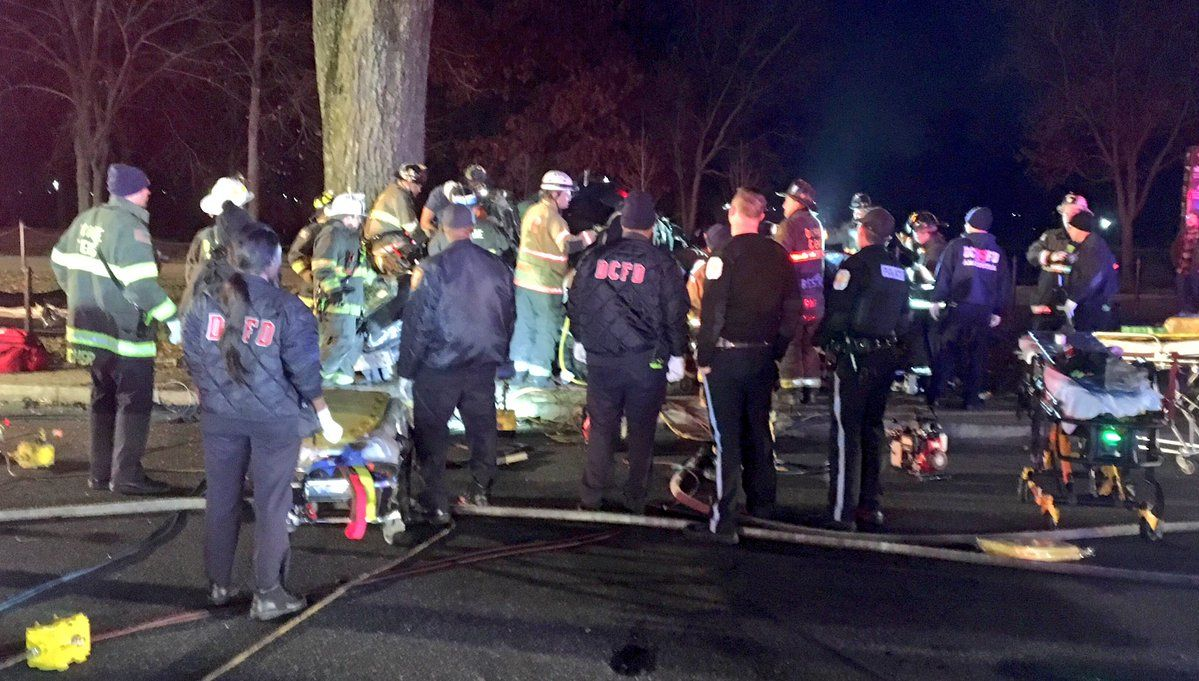 D.C. Fire and EMS tweeted this photo of emergency responders at the scene of a fatal crash at 19th St. and Constitution Ave. NW in D.C. early Sunday, Dec. 23, 2018. (D.C. Fire and EMS via Twitter)
