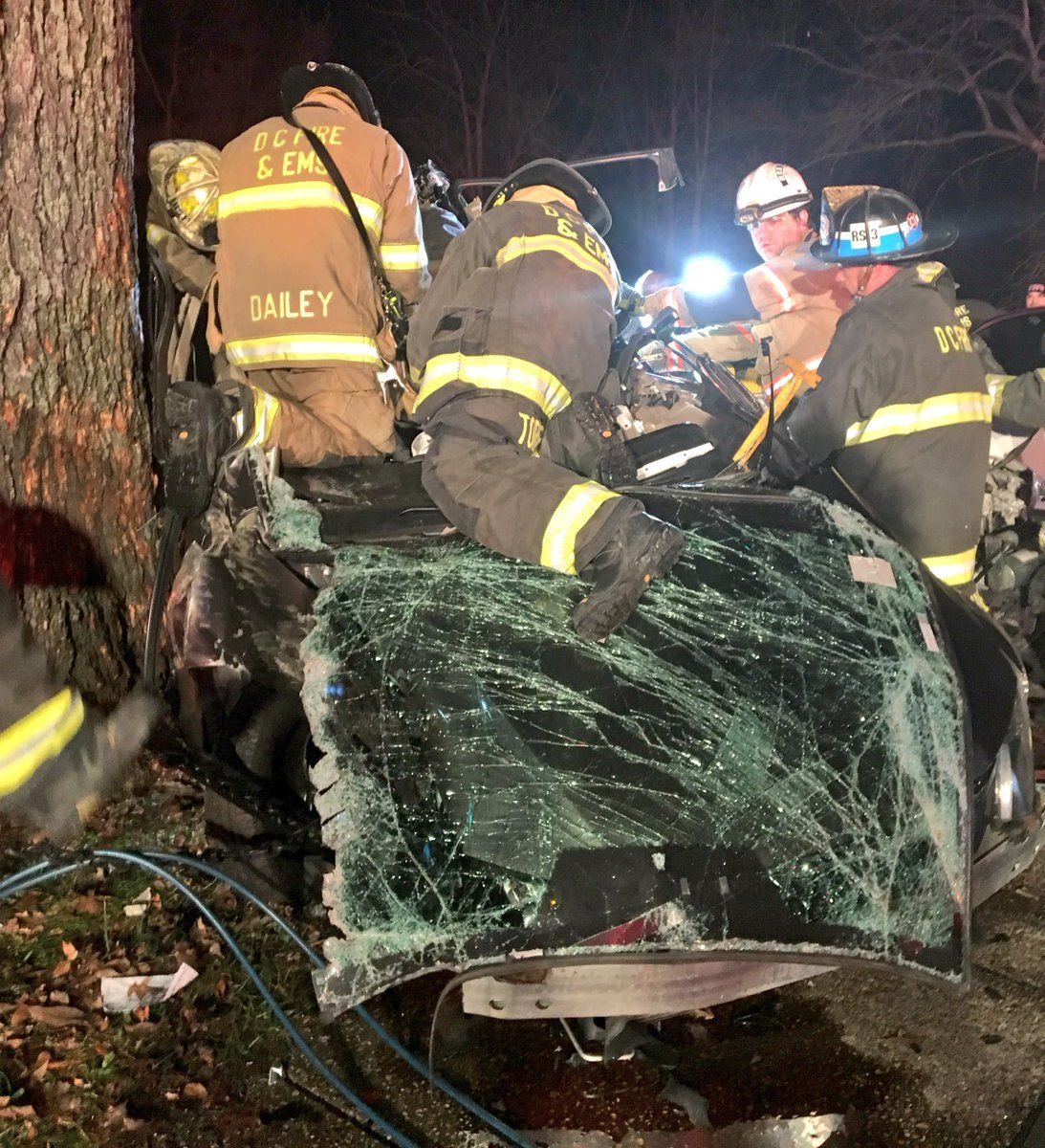 Four people were involved in a serious crash near the National Mall on Sunday, Dec. 12, 2018. One person has died and other was airlifted to the hospital by U.S. Park police. D.C. Fire and EMS tweeted this photo of emergency responders at the scene. (D.C. Fire and EMS via Twitter)