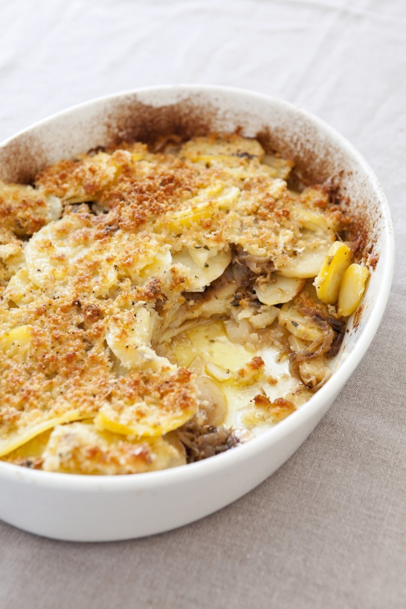 This undated photo provided by America's Test Kitchen in November 2018 shows potato gratin in Brookline, Mass. (Joe KellerAmerica's Test Kitchen via AP)