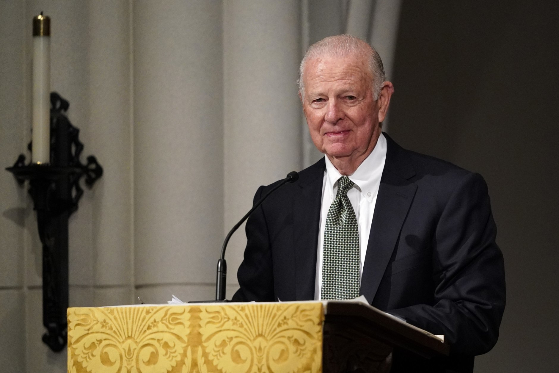 Former Secretary of State James Baker III gives a eulogy during the funeral for former President George H.W. Bush at St. Martin's Episcopal Church, Thursday, Dec. 6, 2018, in Houston. (AP Photo/David J. Phillip, Pool)