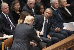 President Donald Trump shakes hands with former President Barack Obama during a State Funeral service for former President George H.W. Bush at Washington National Cathedral in Washington, Wednesday, Dec. 5, 2018. (AP Photo/Carolyn Kaster)