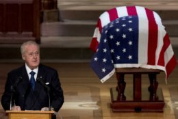 Former Canadian Prime Minister Brian Mulroney speaks during the State Funeral for former President George H.W. Bush at the National Cathedral, Wednesday, Dec. 5, 2018, in Washington. (AP Photo/Andrew Harnik, Pool)