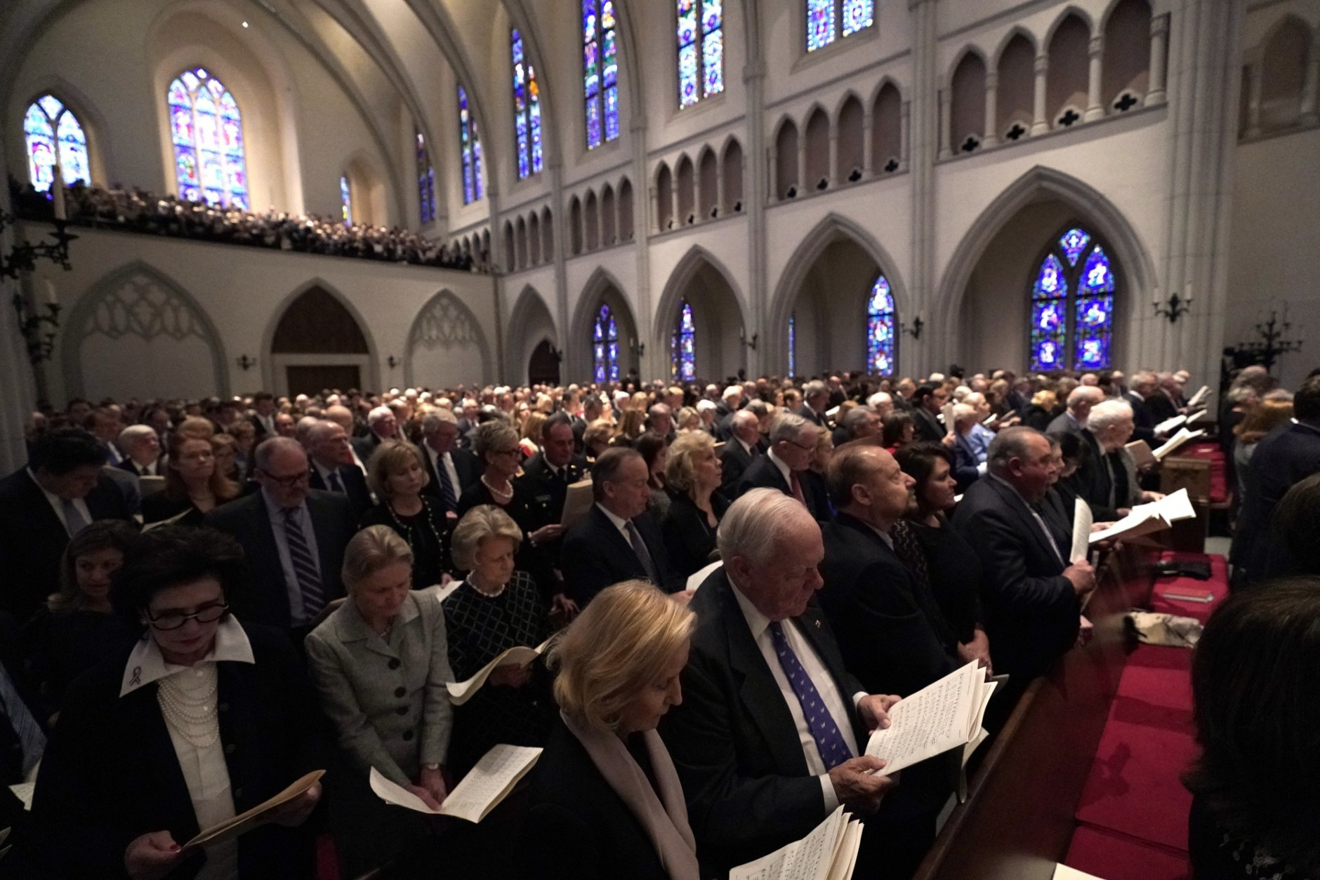 Family and friends attend a funeral service for former President George H.W. Bush at St. Martin's Episcopal Church Thursday, Dec. 6, 2018, in Houston. (AP Photo/David J. Phillip, Pool)