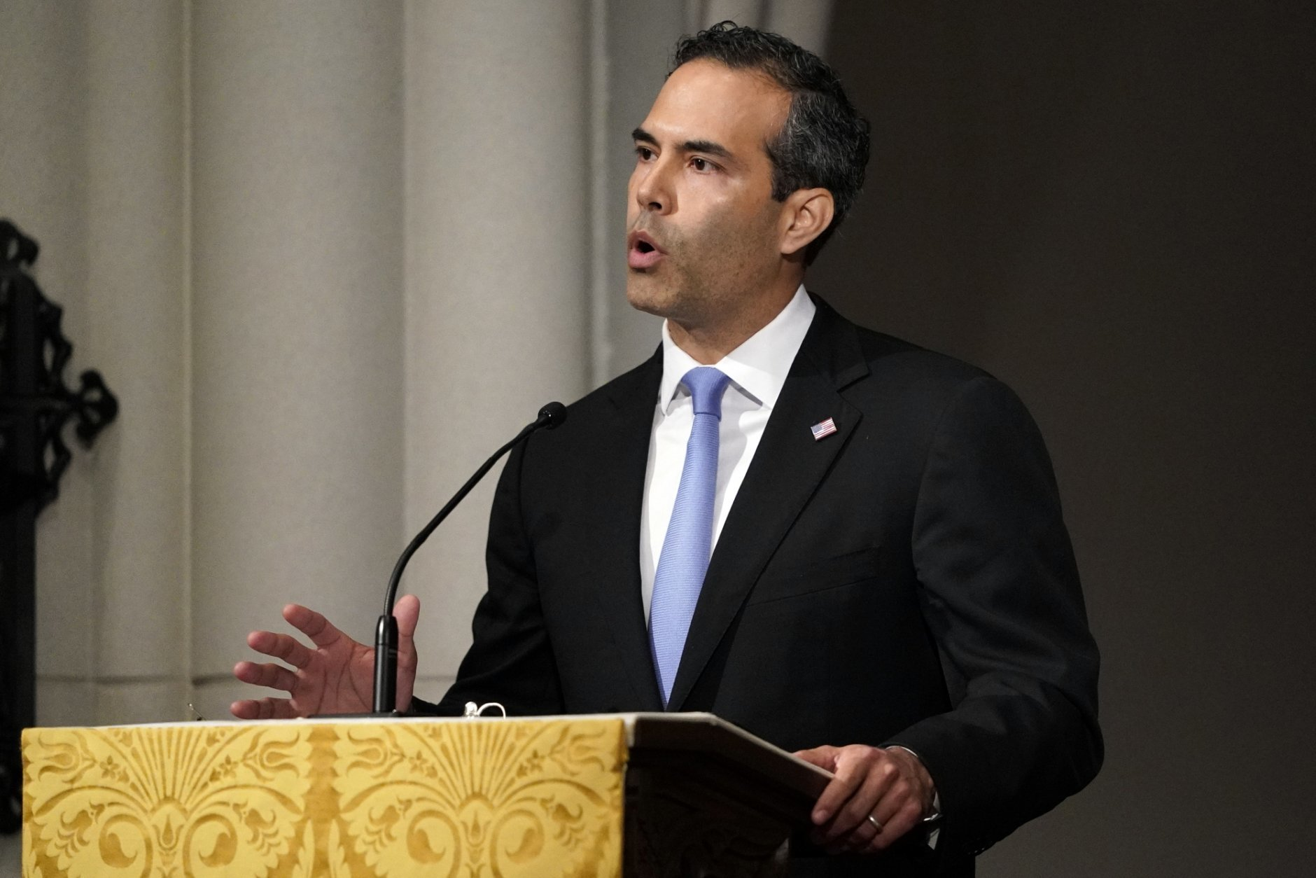 George P. Bush gives a eulogy during the funeral for former President George H.W. Bush at St. Martin's Episcopal Church, Thursday, Dec. 6, 2018, in Houston. (AP Photo/David J. Phillip, Pool)