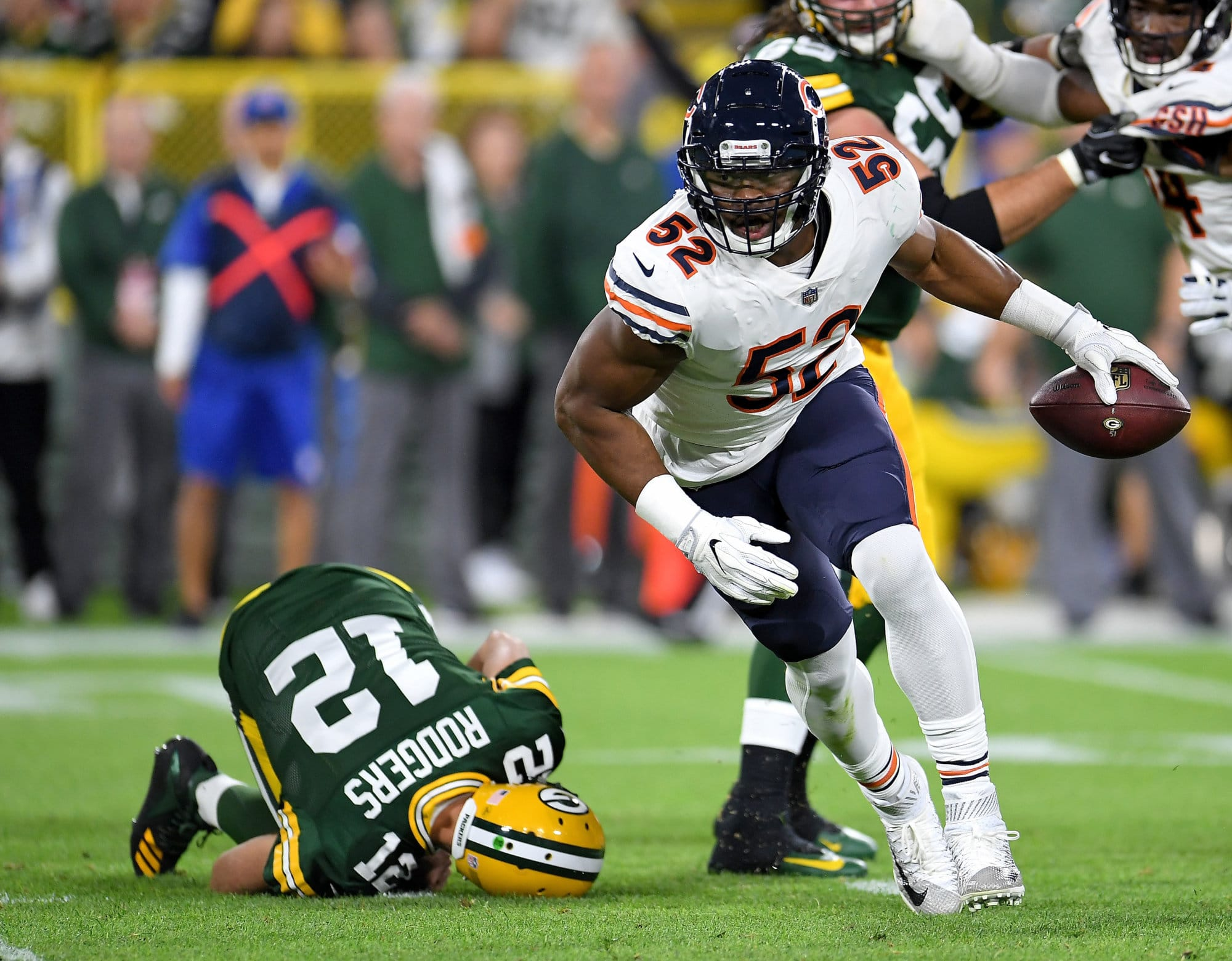 GREEN BAY, WI - SEPTEMBER 09:  Khalil Mack #52 of the Chicago Bears reacts after sacking Aaron Rodgers #12 during the second quarter of a game at Lambeau Field on September 9, 2018 in Green Bay, Wisconsin.  (Photo by Stacy Revere/Getty Images)