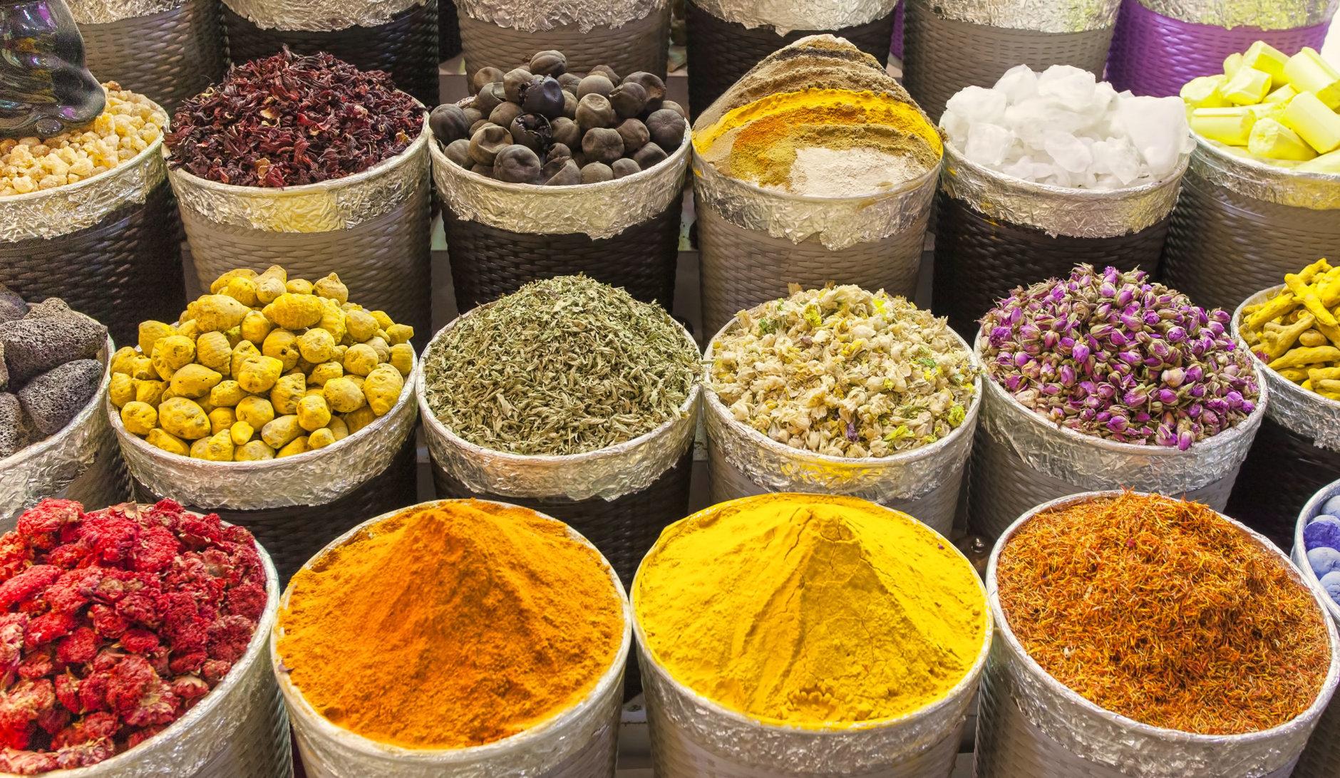 traditional spice market in United Arab Emirates, Dubai souk or market
