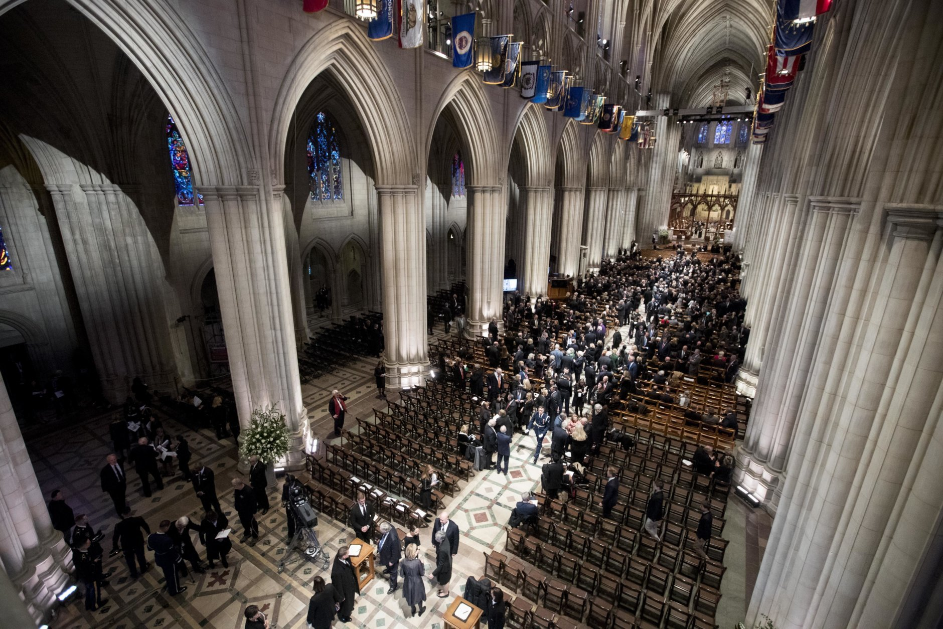 Visitors gather before a State Funeral for former President George H.W. Bush at the National Cathedral, Wednesday, Dec. 5, 2018,  in Washington. (Photo by Andrew Harnik - Pool/Getty)