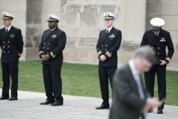 Service members arrive for the funeral of late former President George H.W. Bush at the Washington National Cathedral December 5, 2018 in Washington, DC. President Bush will be buried at his final resting place at the George H.W. Bush Presidential Library at Texas A&M University in College Station, Texas. A WWII combat veteran, Bush served as a member of Congress from Texas, ambassador to the United Nations, director of the CIA, vice president and 41st president of the United States. (Photo by Alex Wong/Getty Images)