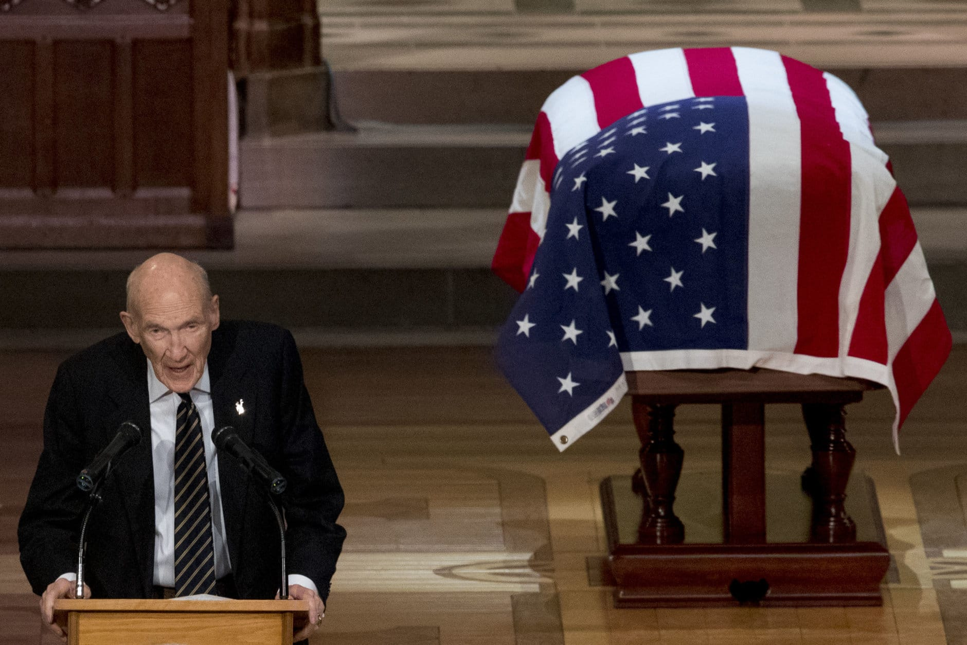 Former Sen. Alan Simpson, R-Wyo, speaks during the State Funeral for former President George H.W. Bush at the National Cathedral, December 5, 2018 in Washington, DC. President Bush will be buried at his final resting place at the George H.W. Bush Presidential Library at Texas A&M University in College Station, Texas. A WWII combat veteran, Bush served as a member of Congress from Texas, ambassador to the United Nations, director of the CIA, vice president and 41st president of the United States. (Photo by Andrew Harnik-Pool/Getty Images)