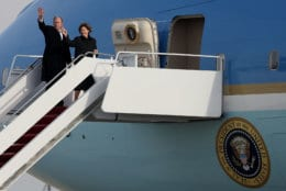 Former U.S. President George W. Bush and his wife Laura Bush wave after the casket of former U.S. President George H.W. Bush was loaded onto a U.S. Air Force 747, that is being called 'Special Mission 41', on December 5, 2018 in Joint Base Andrews, Maryland. (Photo by Mark Wilson/Getty Images)