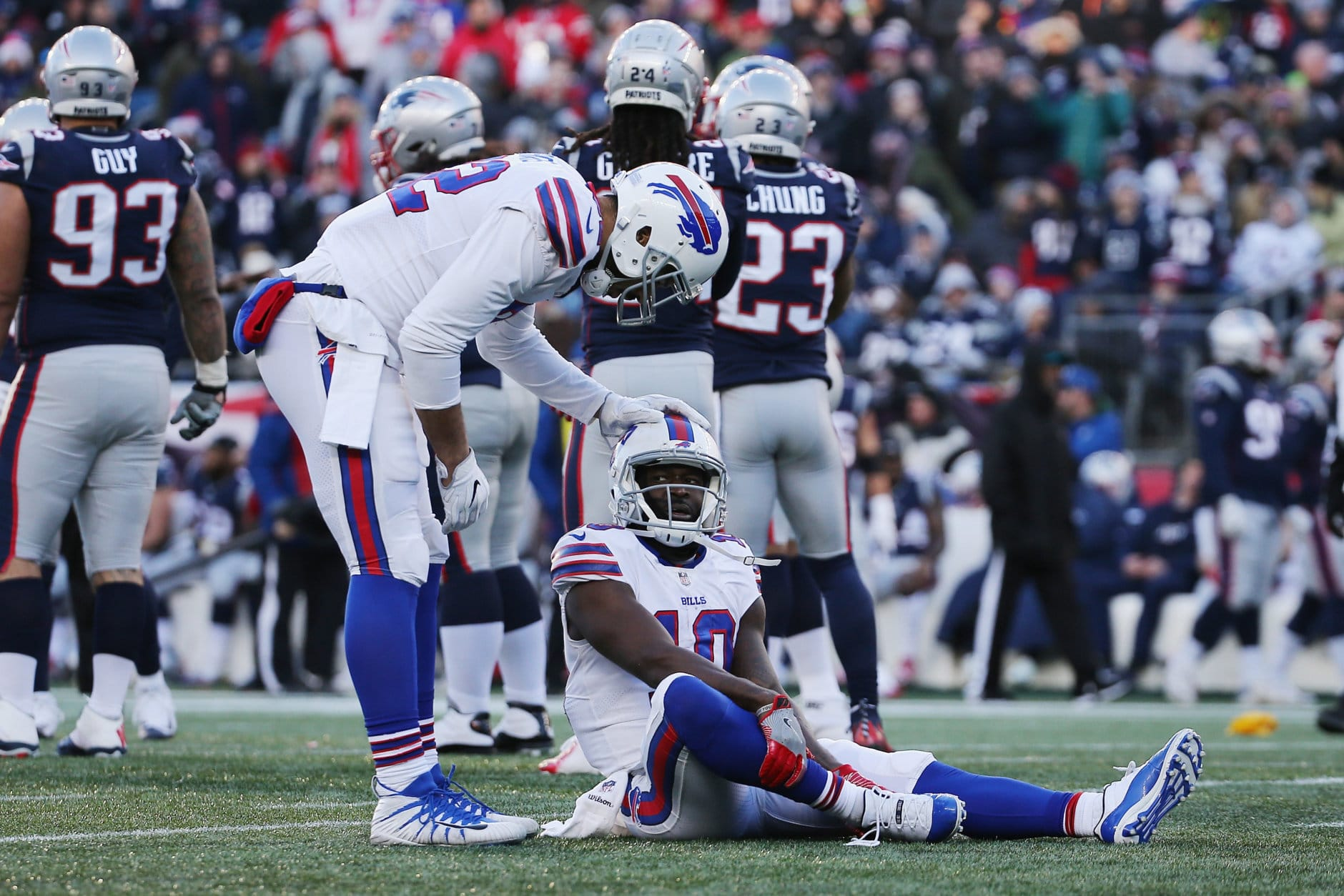 FOXBOROUGH, MA - DECEMBER 23:  Deonte Thompson #10 of the Buffalo Bills reacts after suffering an injury during the second half against the New England Patriots at Gillette Stadium on December 23, 2018 in Foxborough, Massachusetts.  (Photo by Jim Rogash/Getty Images)