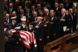 President Donald Trump, first lady Melania Trump and former presidents, vice presidents, first ladies and spouses attend the state funeral for former President George H.W. Bush at the National Cathedral December 05, 2018 in Washington, DC. A WWII combat veteran, Bush served as a member of Congress from Texas, ambassador to the United Nations, director of the CIA, vice president and 41st president of the United States.  (Photo by Chip Somodevilla/Getty Images)