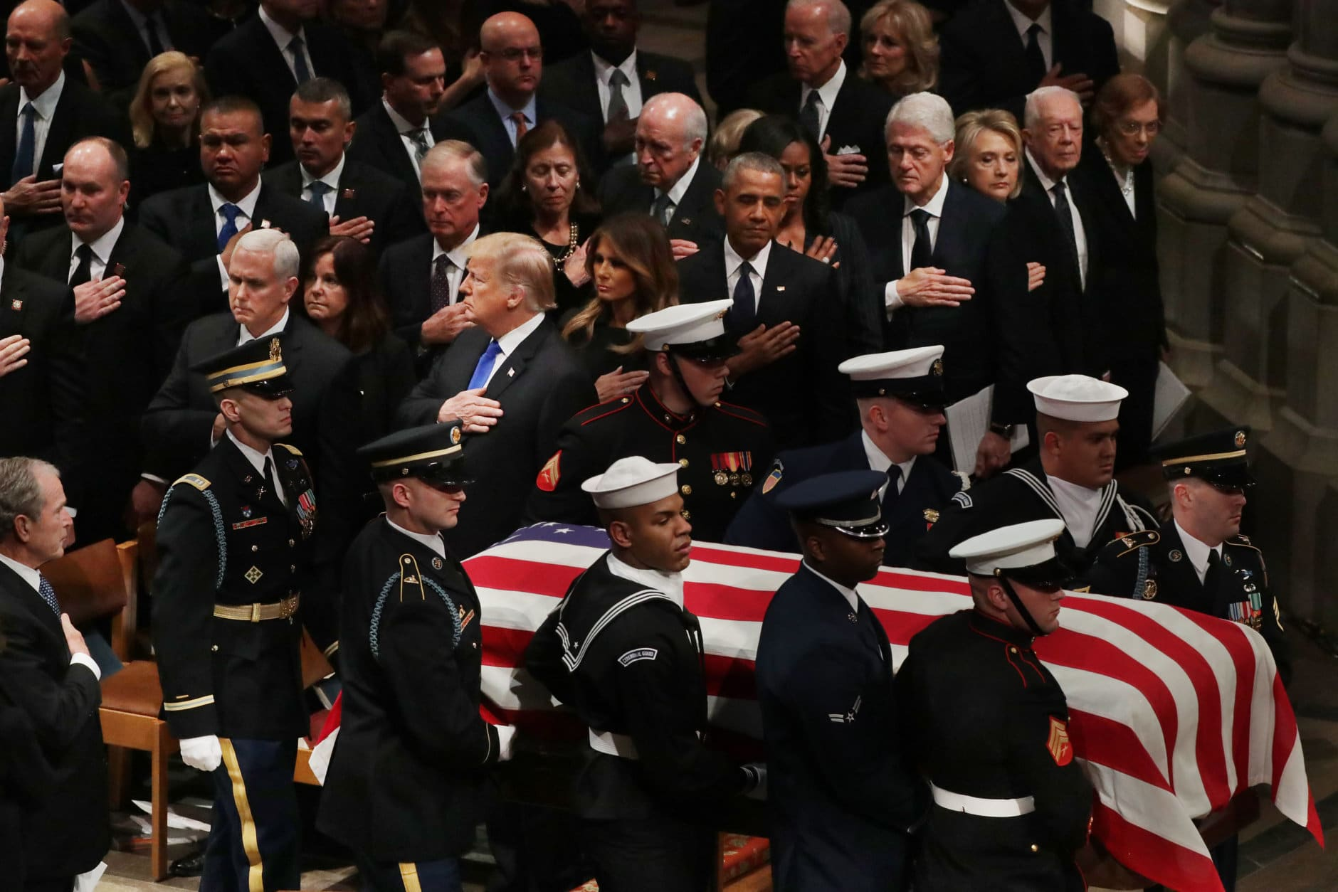 WASHINGTON, DC - DECEMBER 05:  President Donald Trump, first lady Melania Trump and former presidents, vice presidents, first ladies and spouses attend the state funeral for former President George H.W. Bush at the National Cathedral December 05, 2018 in Washington, DC. A WWII combat veteran, Bush served as a member of Congress from Texas, ambassador to the United Nations, director of the CIA, vice president and 41st president of the United States.  (Photo by Chip Somodevilla/Getty Images)