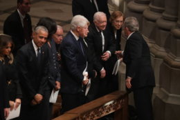 Former U.S. President George W. Bush (R) greets fellow former presidents Jimmy Carter, Bill Clinton and Barack Obama and first ladies Rosalynn Carter, Hillary Clinton, Michelle Obama and Melania Trump during the state funeral for his father and former President George H.W. Bush at the National Cathedral December 05, 2018 in Washington, DC. A WWII combat veteran, Bush served as a member of Congress from Texas, ambassador to the United Nations, director of the CIA, vice president and 41st president of the United States.  (Photo by Chip Somodevilla/Getty Images)