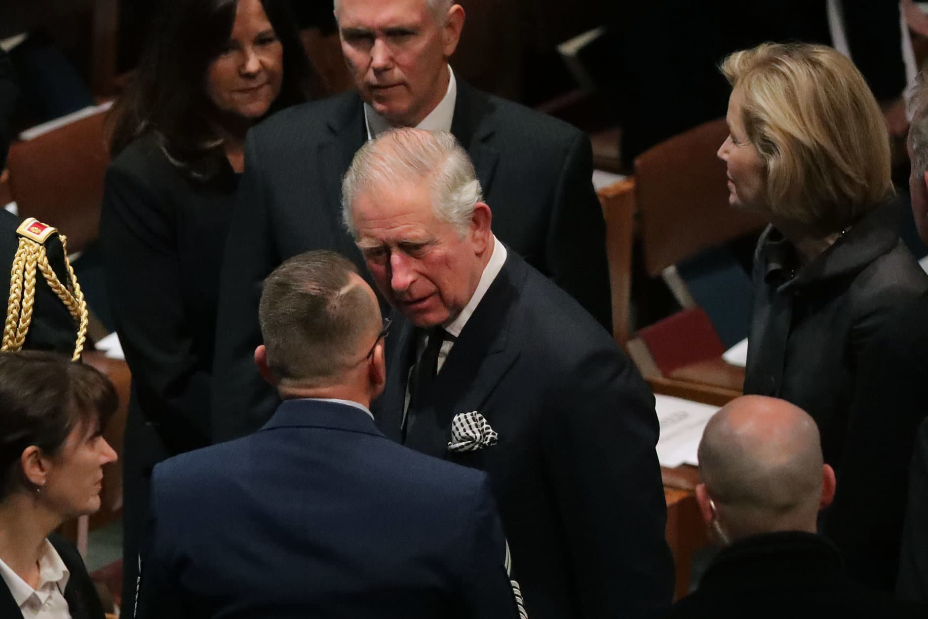 Britain's Prince Charles (C) attends the state funeral for former President George H.W. Bush at the National Cathedral December 05, 2018 in Washington, DC. A WWII combat veteran, Bush served as a member of Congress from Texas, ambassador to the United Nations, director of the CIA, vice president and 41st president of the United States.  (Photo by Chip Somodevilla/Getty Images)