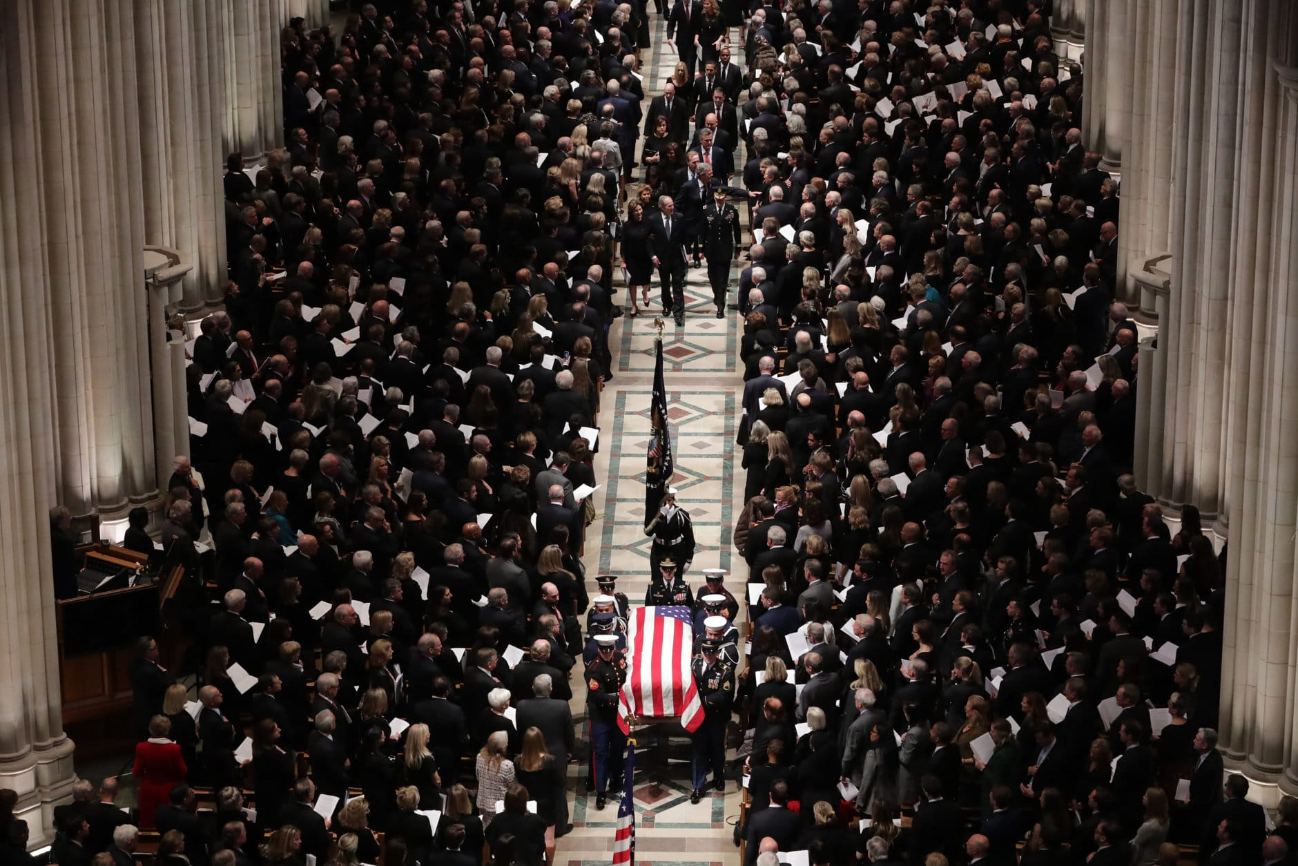 Members former President George H.W. Bush's family, including former President George W. Bush and former Florida Governor Jeb Bush, follow his casket out of the National Cathedral at the conclusion of his state funeral December 05, 2018 in Washington, DC. A WWII combat veteran, Bush served as a member of Congress from Texas, ambassador to the United Nations, director of the CIA, vice president and 41st president of the United States.  (Photo by Chip Somodevilla/Getty Images)