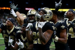 NEW ORLEANS, LOUISIANA - DECEMBER 23: The New Orleans Saints celebrate during the second half against the Pittsburgh Steelers at the Mercedes-Benz Superdome on December 23, 2018 in New Orleans, Louisiana. (Photo by Sean Gardner/Getty Images)