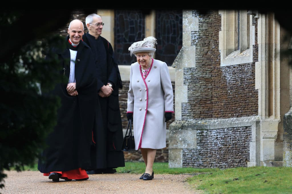 KING'S LYNN, ENGLAND - DECEMBER 25: Queen Elizabeth II leaves after attending Christmas Day Church service at Church of St Mary Magdalene on the Sandringham estate on December 25, 2018 in King's Lynn, England. (Photo by Stephen Pond/Getty Images)
