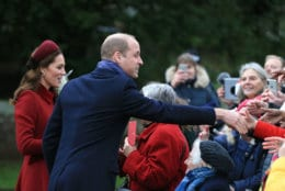 KING'S LYNN, ENGLAND - DECEMBER 25: Catherine, Duchess of Cambridge and Prince William, Duke of Cambridge greet well wishers as she attend Christmas Day Church service at Church of St Mary Magdalene on the Sandringham estate on December 25, 2018 in King's Lynn, England. (Photo by Stephen Pond/Getty Images)