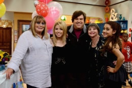 HOLLYWOOD, CA - JUNE 26:  Penny Marshall and Cindy Williams make a guest appearance with creator/executive producer Dan Schneider on Nickelodeon's Sam & Cat, starring Jennette McCurdy and Ariana Grande on June 26, 2013 in Los Angeles, California.  (Photo by Araya Diaz/Getty Images for Nickelodeon)