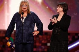 "SANTA MONICA, CA - JUNE 08:  Actress/director Penny Marshall (L) and actress Cindy Williams speak onstage during the 6th annual ""TV Land Awards"" held at Barker Hangar on June 8, 2008 in Santa Monica, California.  (Photo by Kevin Winter/Getty Images for TV Land)"
